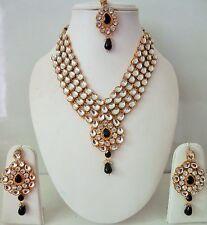 Indian Bollywood Designer Women's Black Kundan Pearls Fashion Jewelry Sets