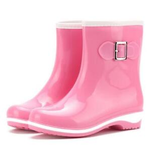 Women's Casual Mid Calf Rain Boots Anti-Skid Ankle Waterproof Short Rubber Shoes