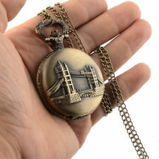 Vintage Pocket Watch Quartz Pendant & Chain Classic bronze Fob Watches Men Women
