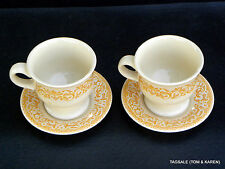 """GINGERSNAP by FRANCISCAN ~ 2 FOOTED CUPS 3 1/2"""" AND SAUCERS"""