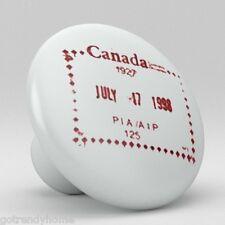 Canadian Stamp Chop Design Ceramic Knobs Pulls Kitchen Drawer Cabinet Vanity 492