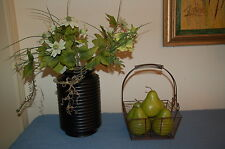 """Modern home decor 7 pcs grouping : Wood Expresso 12"""" vase w basket & 5 pears"""