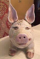 Vintage Hand-Painted Ceramic Pig Crackle Finish Pink Roses, Rare
