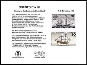 USPS PS37 Souvenir Cards, Nordposta'81,  US  & Germany sailing ship stamps 1981