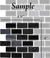 SAMPLE Black & Charcoal Glass & Stone Kitchen Bath Wall Mosaic Backsplash Tile