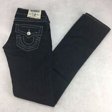 True Religion Jeans Size 24 Big T Grey Plum Straight Flaps Suggested Retail $200