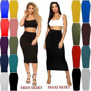 Womens Midi Pencil Skirt Ladies Plain Jersey Bodycon Tube Long Maxi Skirts 6-14