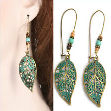 Vintage Hollow Leaf Bead Earrings Long Dangle Drop Costume Fashion Women Jewelry