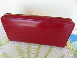 """LAUREN RALPH LAUREN ~ Red Patent Leather Zip Around Wallet Clutch 7.5""""x4"""" ~ VGC"""