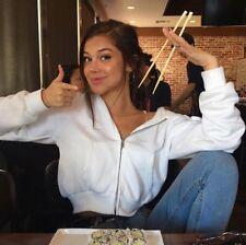 Last One! brandy melville white crop Fleece Zip-up crystal hoodie sweater Jacket