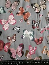 Grey Butterfly Organic French Terry Knit Fabric Cotton Elastane Stretch Material