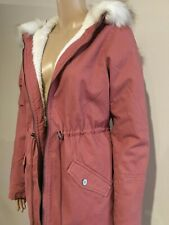 GUESS PARKA JACKET Womens Pink Hooded Sherpa Lined Coat Faux Fur Trim Size S NWT