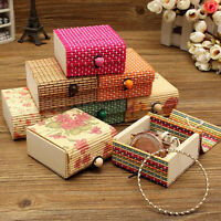 Wholesale Bamboo Wooden Jewelry Organizer Storage Box Strap Craft Case   OZ