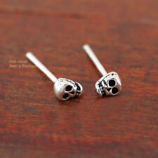 925 Sterling Silver Tiny Skull Skeleton 3x4mm Post Stud Earrings A1138