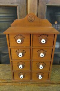 Vintage Eight Drawer Spice Cabinet, Farm, Country, Primitive