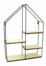 Black Metal Wall Mounted Multi Shelf Storage Organiser Unit Display Rack - House