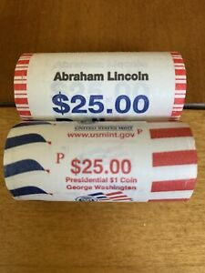 2010-P Abraham Lincoln & George Washington Presidential $1 Coin US Mint Roll