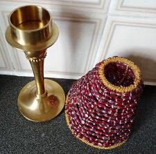 Heavy Brass Candle Holder/Tealight with Red Glass Beads Shade.H-28cm/W-960g.Rare