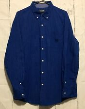 Chaps Easy Care Blue Gray White Long Sleeve Button Down Shirt Mens L