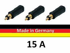 3 x KFZ LKW Normstecker für Bordsteckdosen Adapter 15A 12V - 24V Made in Germany