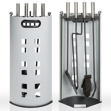 Support métal accessoires cheminée pelle, balai et tisonnier