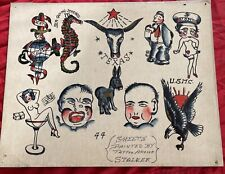 Vintage Original Tattoo Flash Antique Hand Drawn Signed Tattooing History