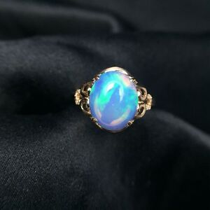 2.06ct Oval Shaped Natural Australian Solid Opal Ring Moissanite 14K Yellow Gold