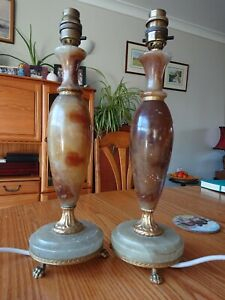 Antique Lamp Pair Claw Feet Marble