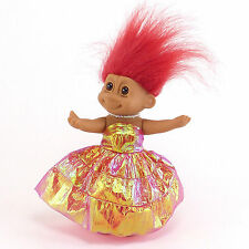 Russ Poseable Troll Doll 8in Red Hair Red Gold Dress Shoes Pearl necklace