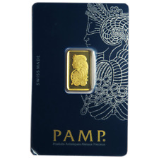 5 Gram Pamp Suisse .9999 Fine Gold Bar Fortuna Veriscan