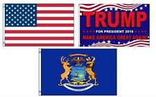 3x5 Trump 2016 & Usa American & State of Michigan Wholesale Set Flag 3'x5'