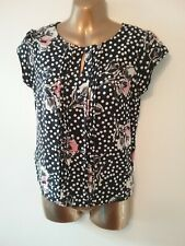5809b5d34bfc8 Dorothy Perkins Blue White Mix Silky Spotted Button Back Cap Sleeve Blouse  Top