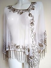 WEDDING WHITE SEQUIN PONCHO CROP SHRUG TOP COVER UP BRIDE STUNNING VINTAGE FILMS