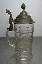 Antigua estaño tapa de vidrio Krug fundador tiempo emperador tiempo batidora deckelkrug ~ 1900