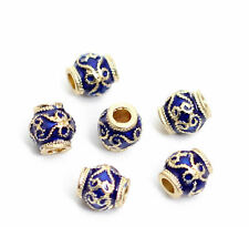 10pcs -7mmX7mm gold & blue Cloisonne spacer beads,2mm hole beads