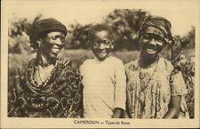 Cameroun Black Woman & Beautiful Children Smiling Types de Bassa Postcard