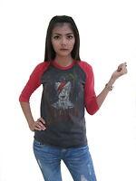 David Bowie Concert World Tour 1976 Raglan Womens T-Shirt Jersey Gray 100%Cotton