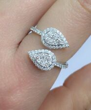 14k Solid White Gold Double Leaf Genius Diamond Ring 0.72ct. Was $5400