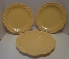 "3 Dinner Plates Chris Madden Home Yellow Mustard Scalloped Embossed Scrolls 11"""