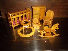 Vtg Miniature Doll House Furniture-Complete Maple Nursery Set-Dollhouse Crib,