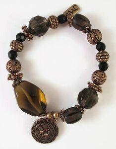 £35 Celtic Tribal Gold Brown Black Charm Bracelet Swarovski Elements Crystal
