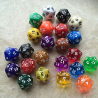 6 X Acrylic Dice D20 Random Color Polyhedral Dice Set 20 Sided Lot Game D&D RPG