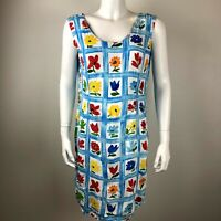Jams World Womens Sleeveless Dress sz 11 White Blue Floral Rayon Vtg Window Box