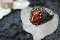 Silberring Männerring Ring Sterlingsilber 925 Handarbeit Karneol 67 (21,3 mm )