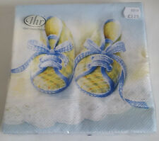 Paper Napkins. 'Baby Shoes' in Blue ideal for a Baby Shower or Christening