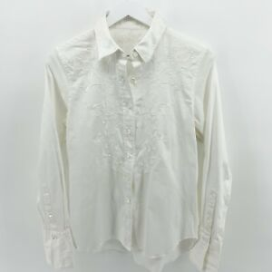 Robert Graham Women's L White on White Embroidered Button Front Long Cuff Shirt