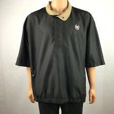 Ahead Cadillac Mens Pullover Jacket Windbreaker Shirt Short Sleeve Black Size XL