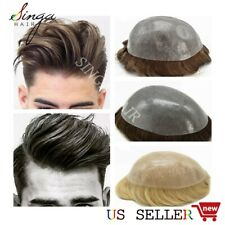 Thin Skin Mens Toupee Hairpiece Full Poly PU Wig 100% Human Hair System For Men