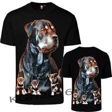 Men Rottweiler  Motorbike Biker T-Shirt Both Side Print 100% cotton