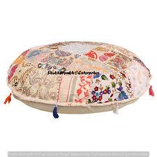 "16"" Indian Floor Cushion Round Cover Patchwork Pillow Pouf Meditation Boho Decor"